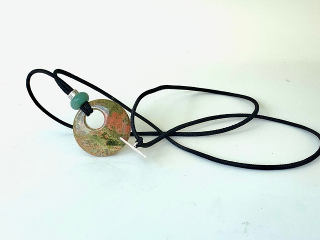 Natural Unakite and Green Aventurine is hair jewelry for locs that can be worn as a necklace and bracelet.