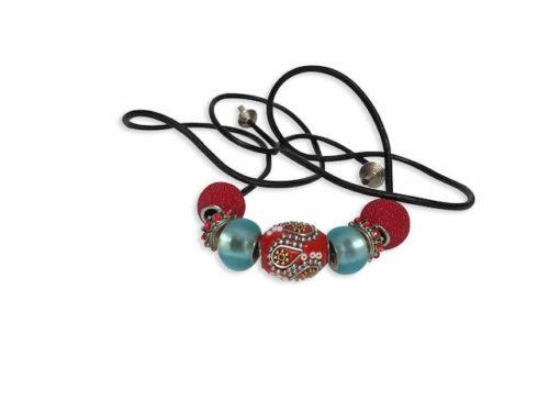 Sensuous Red Leather handmade hair tie for dreadlocks