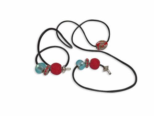 Sensuous Red Leather handmade hair tie for sisterlocks